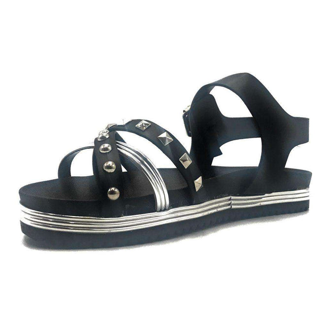 Bamboo Goal-02S Black Color Flat-Sandals Shoes for Women