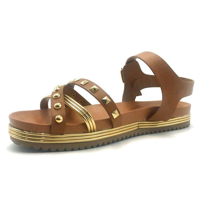 Bamboo Goal-02S Tan Color Flat-Sandals Shoes for Women
