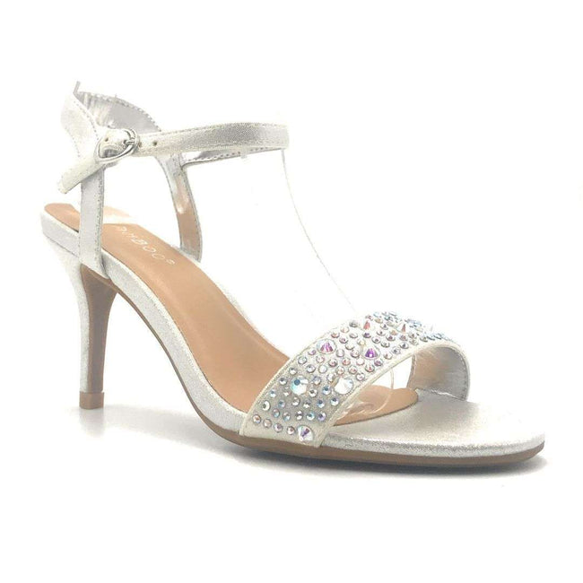 Bamboo Harleen-95S Silver Color Heels Shoes for Women