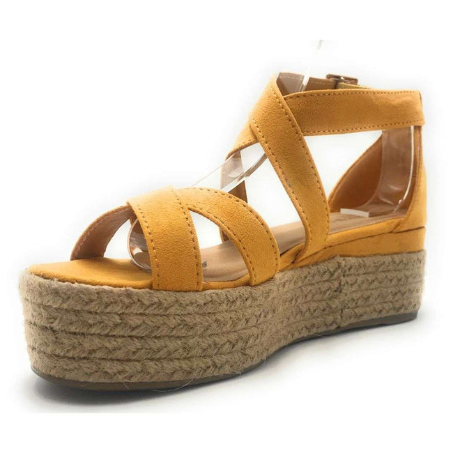 Bamboo Infinity-34 Marigold Color Wedge Shoes for Women