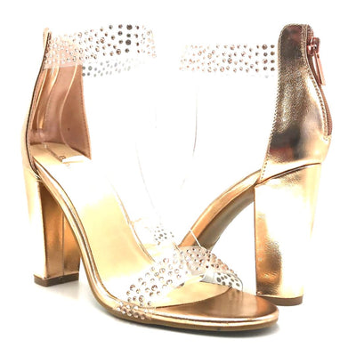 Bamboo Insanity-07 Rose Gold Color Heels Both Shoes together, Women Shoes