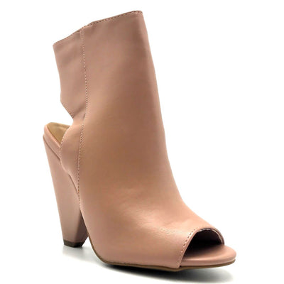 Bamboo Involve-07m Dark Blush Color Heels Right Side View, Women Shoes
