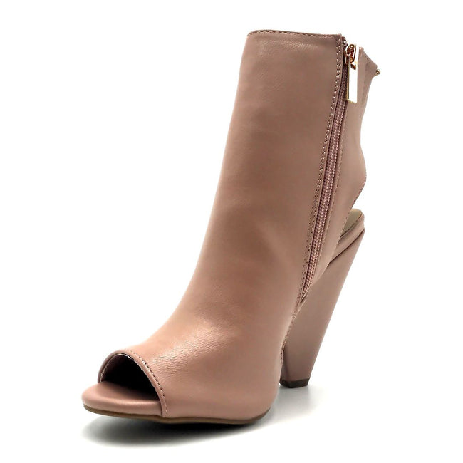 Bamboo Involve-07m Dark Blush Color Heels Left Side view, Women Shoes
