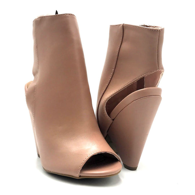 Bamboo Involve-07m Dark Blush Color Heels Both Shoes together, Women Shoes