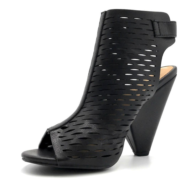 Bamboo Involve-09m Black Color Heels Left Side view, Women Shoes