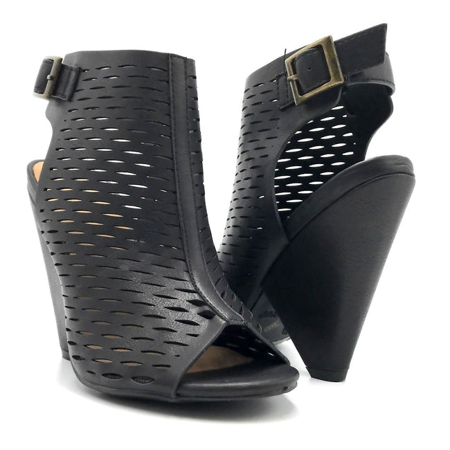 Bamboo Involve-09m Black Color Heels Both Shoes together, Women Shoes