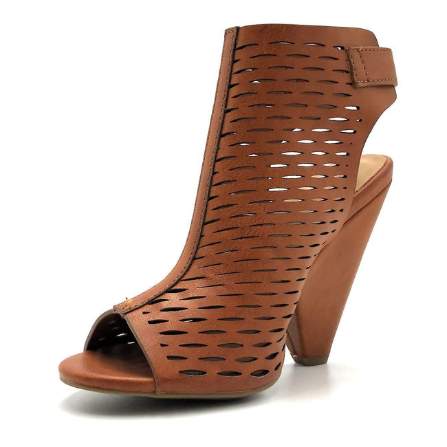 Bamboo Involve-09m Chestnut Color Heels Left Side view, Women Shoes