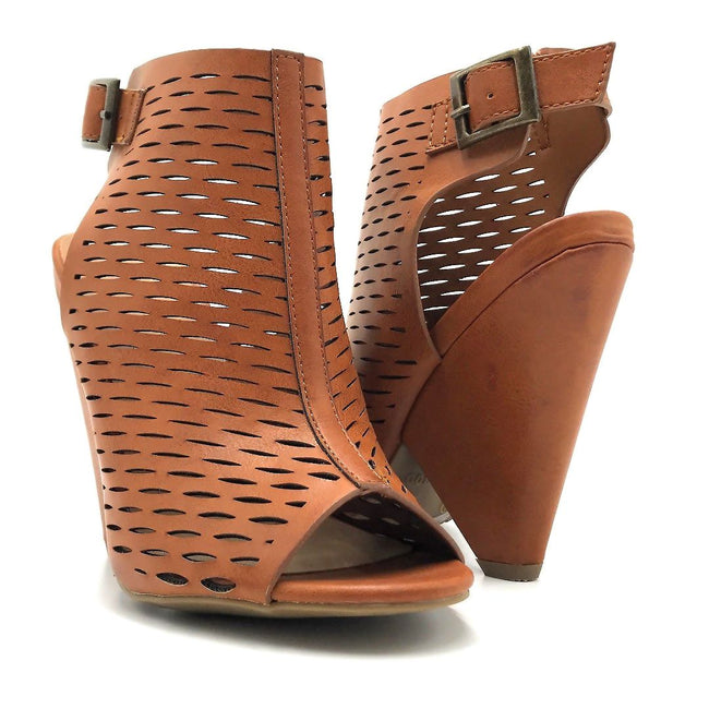 Bamboo Involve-09m Chestnut Color Heels Both Shoes together, Women Shoes