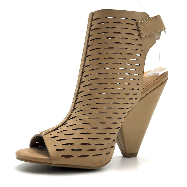 Bamboo Involve-09m Light Taupe Color Heels Left Side view, Women Shoes