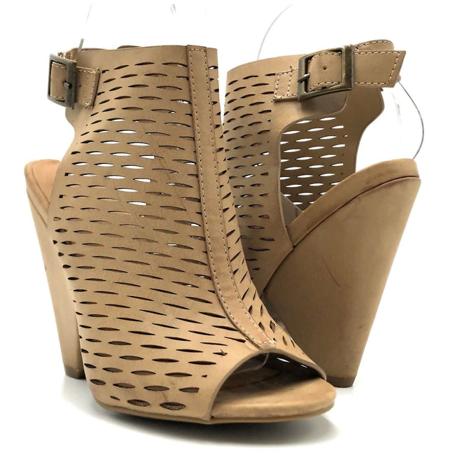 Bamboo Involve-09m Light Taupe Color Heels Both Shoes together, Women Shoes
