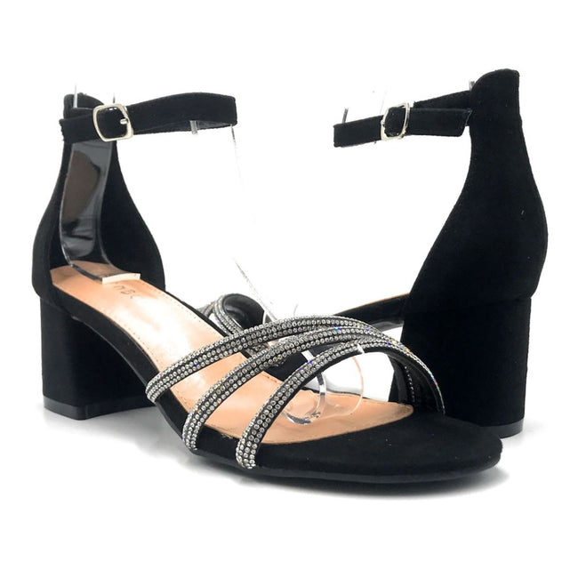 Bamboo Jan-01 Black Color Heels Both Shoes together, Women Shoes
