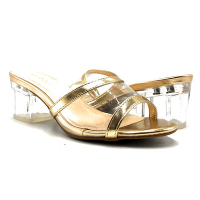 Bamboo Peak-02 Gold Color Heels Both Shoes together, Women Shoes