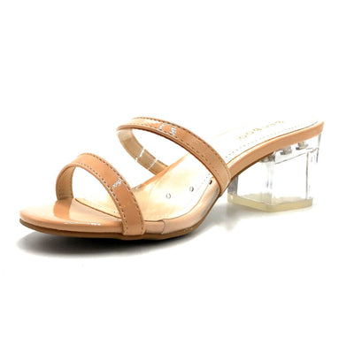 Bamboo Peak-02 Nude Color Heels Left Side view, Women Shoes