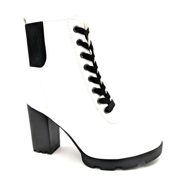 Bamboo Pilate-09 White Color Boots Right Side View, Women Shoes