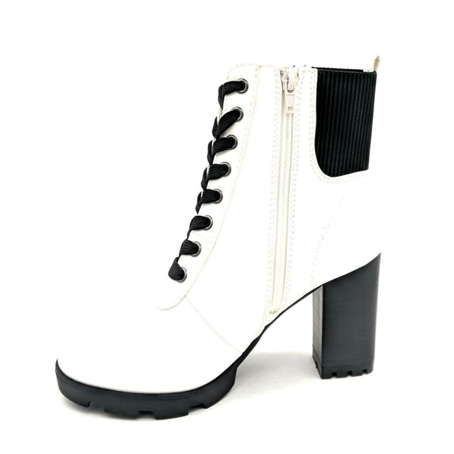 Bamboo Pilate-09 White Color Boots Left Side view, Women Shoes