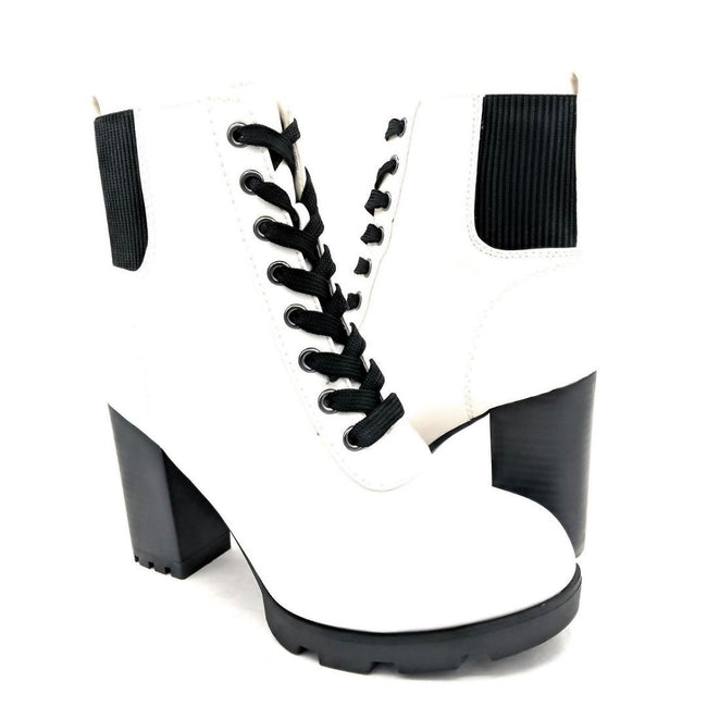 Bamboo Pilate-09 White Color Boots Both Shoes together, Women Shoes