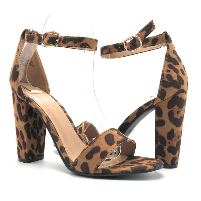 Bamboo Rampage-04S Leopard Color Heels Shoes for Women