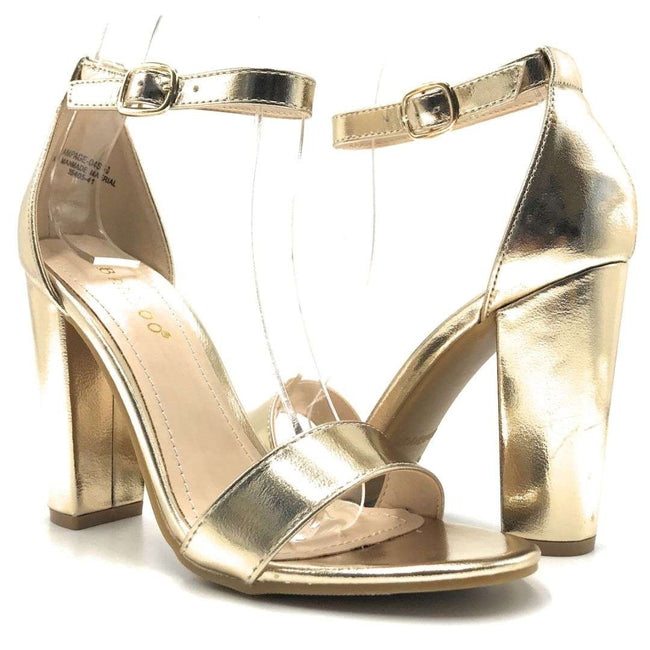 Bamboo Rampage-04Sa Gold Color Heels Shoes for Women