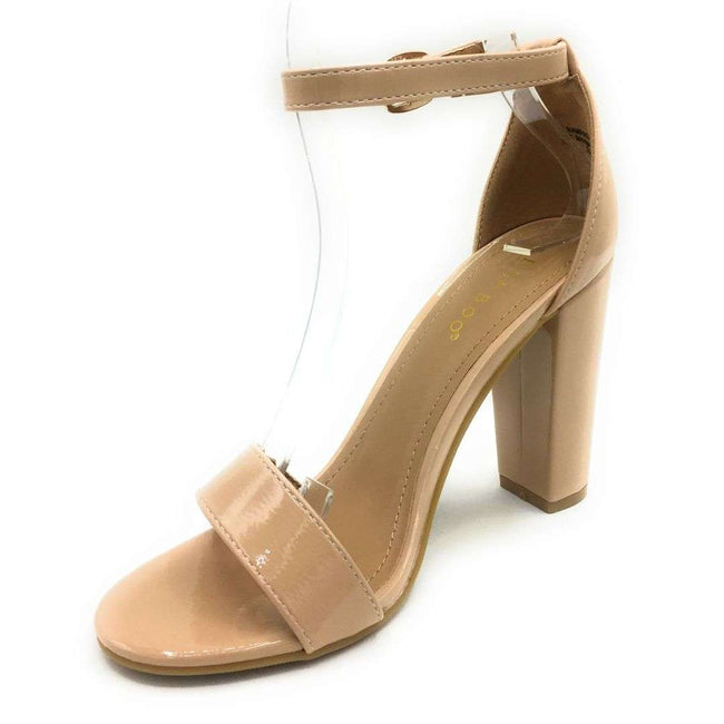 Bamboo Rampage-04Sa Nude Pat Color Heels Shoes for Women