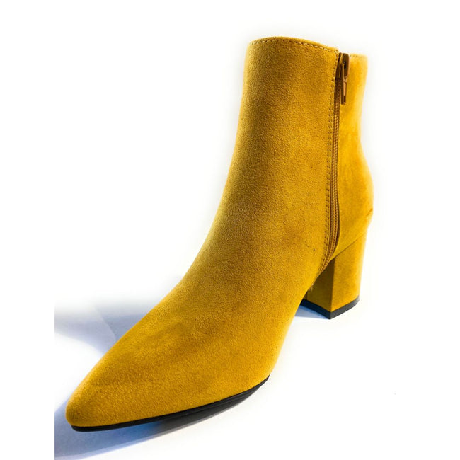 Bamboo Rapid-01 Mustard Color Boots Left Side view, Women Shoes