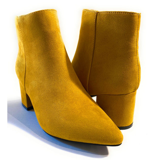 Bamboo Rapid-01 Mustard Color Boots Both Shoes together, Women Shoes