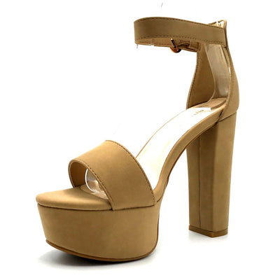 Bamboo Shocking-07 Natural Color Heels Left Side view, Women Shoes