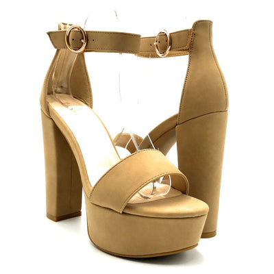 Bamboo Shocking-07 Natural Color Heels Both Shoes together, Women Shoes