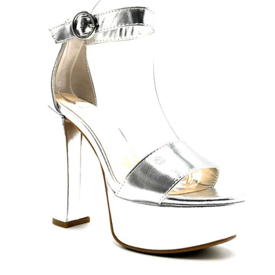 Bamboo Shocking-07 Silver Color Heels Right Side View, Women Shoes
