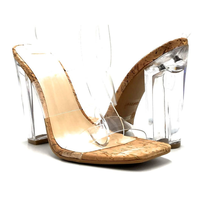 Bamboo Slash-02 Natural Color Heels Both Shoes together, Women Shoes