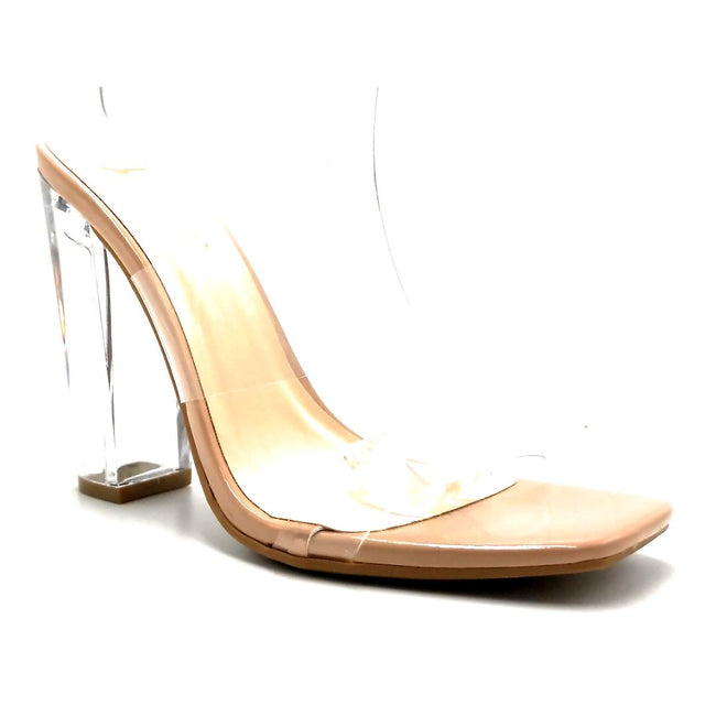 Bamboo Slash-02 Nude Color Heels Right Side View, Women Shoes
