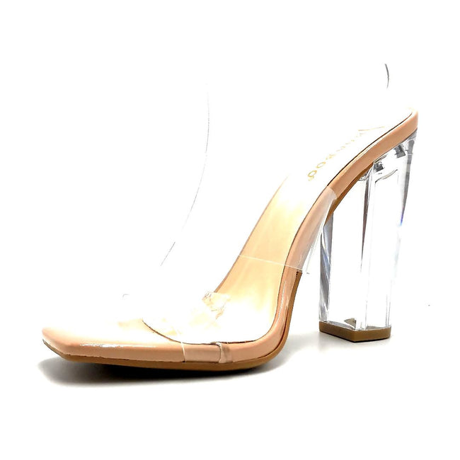 Bamboo Slash-02 Nude Color Heels Left Side view, Women Shoes