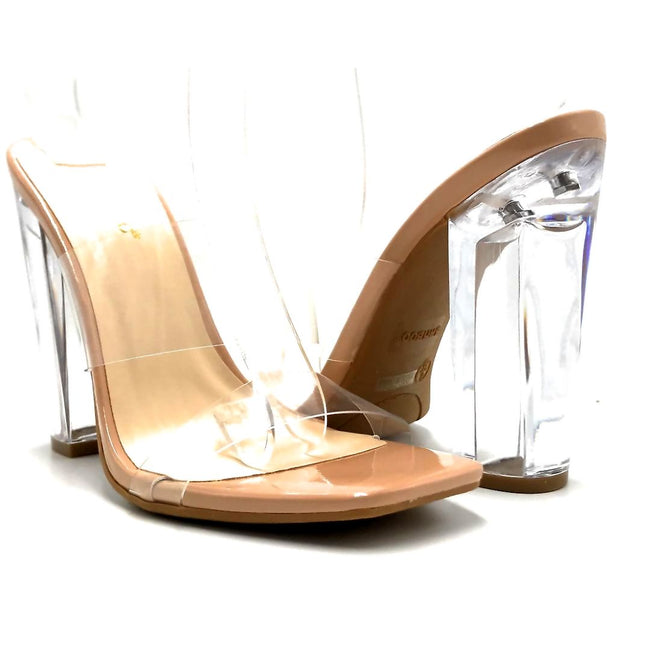 Bamboo Slash-02 Nude Color Heels Both Shoes together, Women Shoes