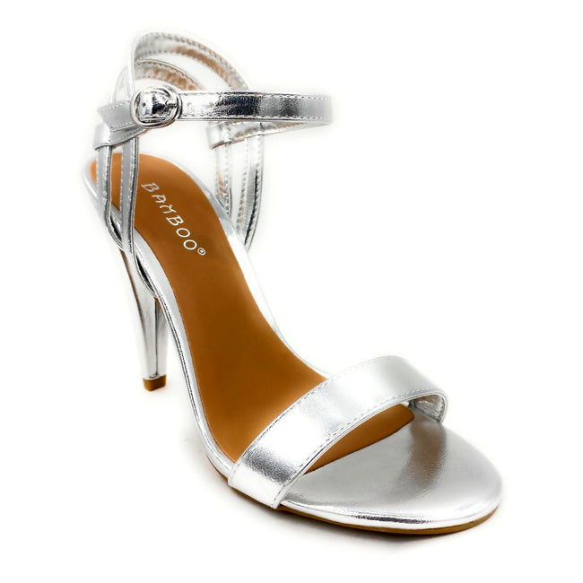 Bamboo Smashing-05s Silver Color Heels Right Side View, Women Shoes
