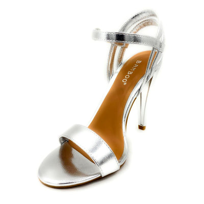 Bamboo Smashing-05s Silver Color Heels Left Side view, Women Shoes