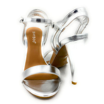 Bamboo Smashing-05s Silver Color Heels Both Shoes together, Women Shoes