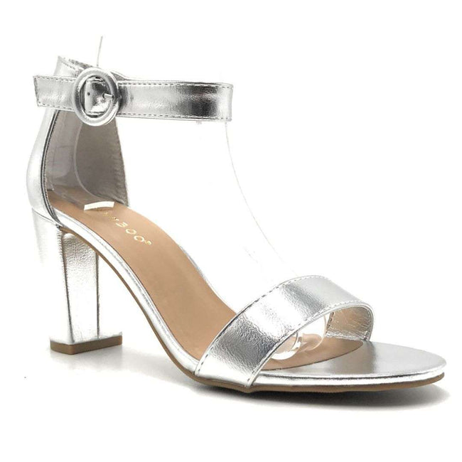 Bamboo Striking-21S Silver Color Heels Shoes for Women