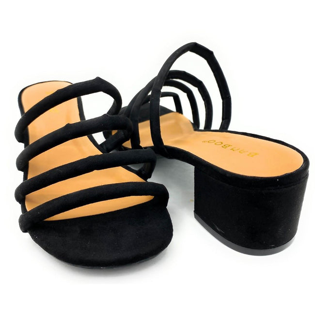 Bamboo Swell-01s Black Color Heels Both Shoes together, Women Shoes