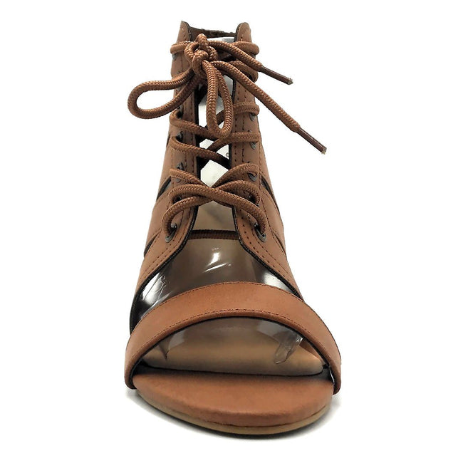 Bamboo Taste-25s Tan Color Heels Front View, Women Shoes