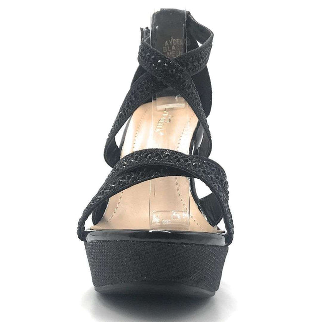 Bella Marie Ayden Black Mesh Color Wedge Shoes for Women