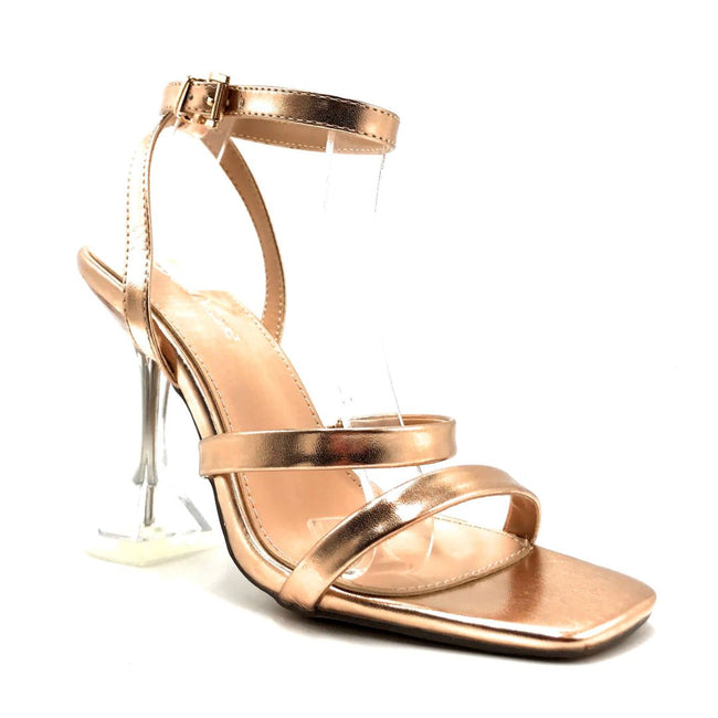 Bella Marie Cocktail-3 Rose Gold PU Color Heels Right Side View, Women Shoes