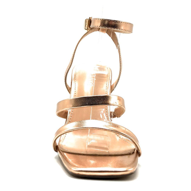 Bella Marie Cocktail-3 Rose Gold PU Color Heels Front View, Women Shoes