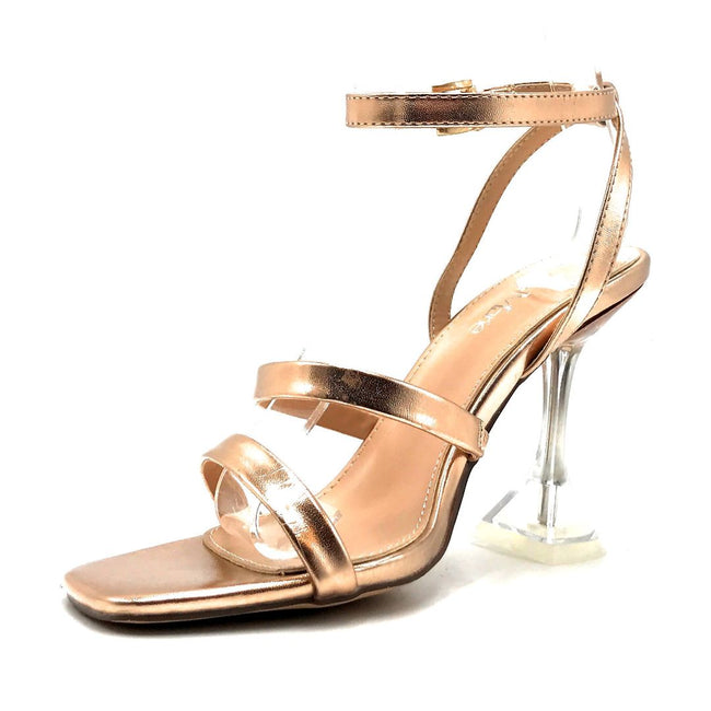 Bella Marie Cocktail-3 Rose Gold PU Color Heels Left Side view, Women Shoes