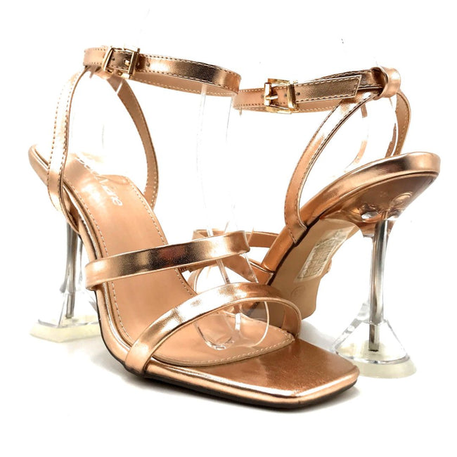 Bella Marie Cocktail-3 Rose Gold PU Color Heels Both Shoes together, Women Shoes