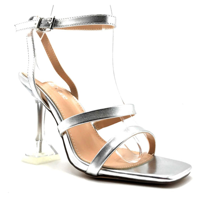 Bella Marie Cocktail-3 Silver PU Color Heels Right Side View, Women Shoes