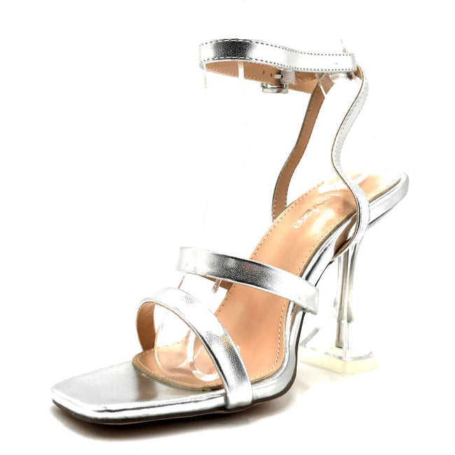 Bella Marie Cocktail-3 Silver PU Color Heels Left Side view, Women Shoes