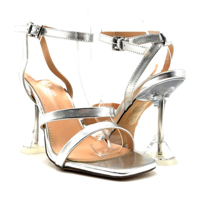Bella Marie Cocktail-3 Silver PU Color Heels Both Shoes together, Women Shoes