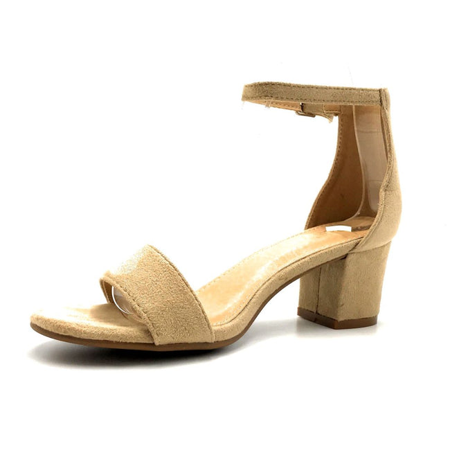 Bella Marie Jean-08 Beige Suede Color Heels Left Side view, Women Shoes