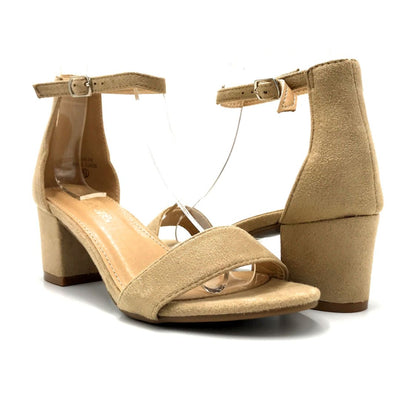 Bella Marie Jean-08 Beige Suede Color Heels Both Shoes together, Women Shoes