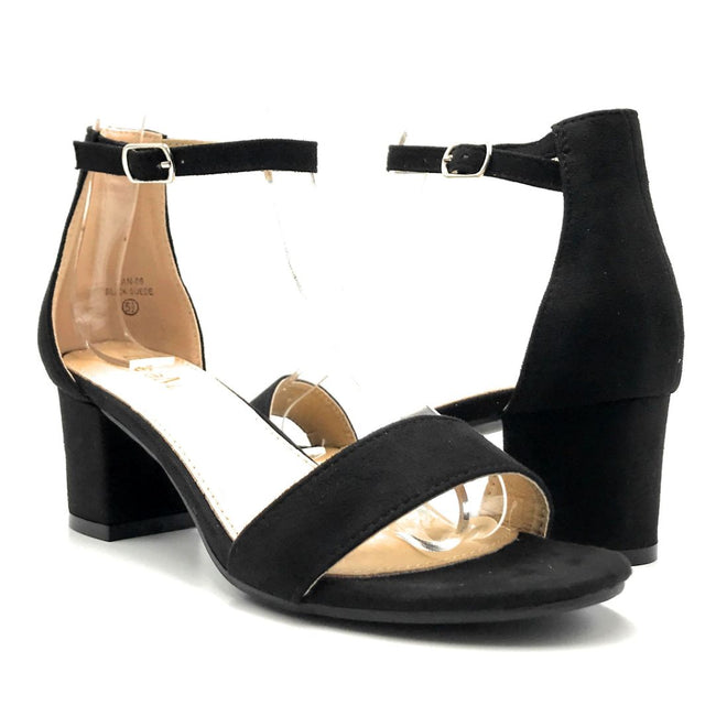 Bella Marie Jean-08 Black Suede Color Heels Both Shoes together, Women Shoes