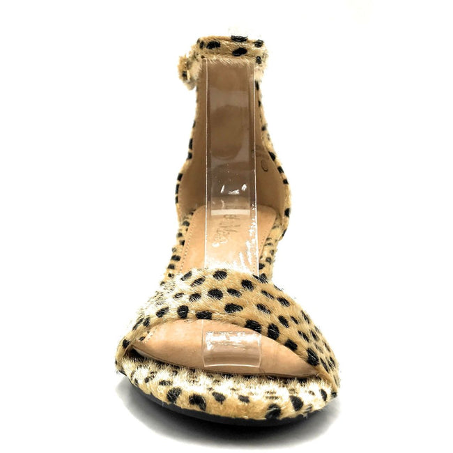 Bella Marie Jean-08 Cheetah Hair Suede Color Heels Front View, Women Shoes